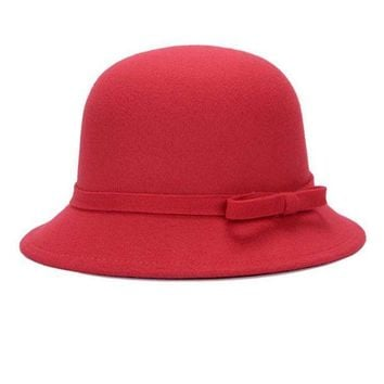 PEAP78W Fashion Solid Women fedora hat Vintage Wool Bow knot Winter Warm Caps Casual Elegant Ladies Party Beach Sun hat chapeau femme Y2