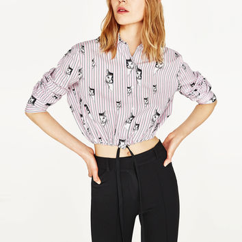 CATS PRINT CROPPED SHIRTDETAILS