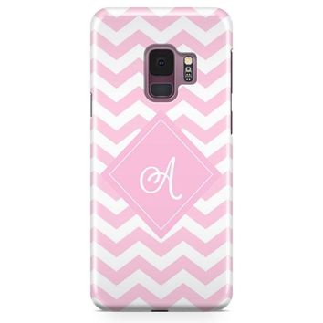 Monogrammed Pink Chevron Wallpaper Samsung Galaxy S9 Case | Casefantasy