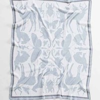 The Rise And Fall Animal Reflection Throw Blanket- Blue One