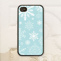 Christmas phone case iPhone 4 4s 5 5s 5c 6 6+ plus Samsung Galaxy s3 s4 s5 s6 Snow flakes, Aqua blue phone cover H7100
