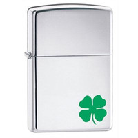 Zippo 24007 A Bit o Luck Clover Chrome Lighter