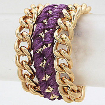 "8"" gold purple thread chain link layered bracelet bangle cuff"