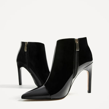 HIGH HEEL PATENT FINISH ANKLE BOOTS DETAILS