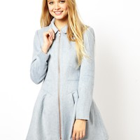 ASOS Skater Coat With Peter Pan Collar - Blue