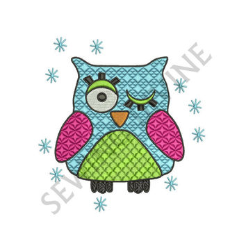 OWL Machine EMBROIDERY Design Quilt Patchwork Pattern 4x4 5x6 6x10 Digital Download