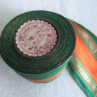 "Spool of India trim/ vintage India woven metalic trim/ saree trim/ teal gold orange/ 8 1/2 yards x 2 1/2"" wide"