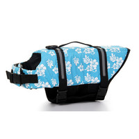 Dog life Jacket Safer Vest Swimming Jacket Flotation Float life Jacket Blue Flower XXS