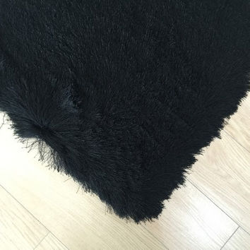 Lurex Eye Catching Shaggy Area Rug Solid Black
