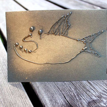 Mixed media greeting card - Gold fish Pisces birthday for men