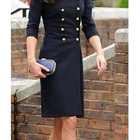 Navy Blue Gold Wool Double Breasted Button Front Epaulet Long Sleeve Knee Length Military Coat - Inspired by Kate Middleton