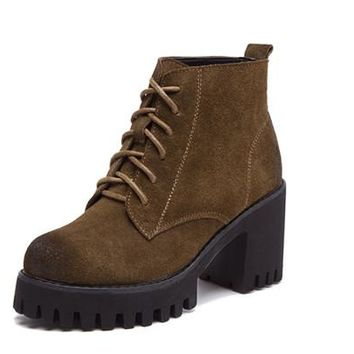 Vintage Style Women Boots High Heel Woman Ankle Boots Suede Genuine Leather Platform Shoes Thick Heels Lace-up Martin Boots