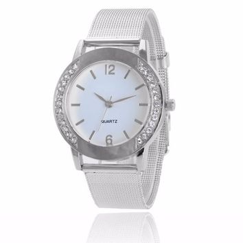 Fashion Women Crystal Silver Stainless Steel Analog Quartz Wrist Watch