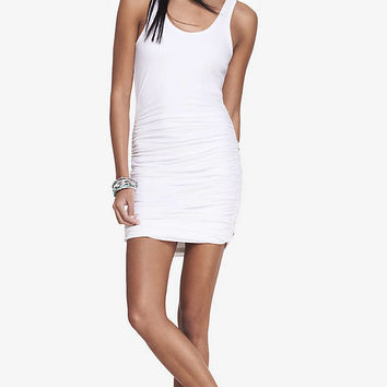 WHITE RUCHED TANK DRESS from EXPRESS