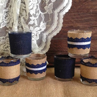 navy blue rustic burlap and lace covered 6 votive tea candles, wedding, bridal shower, birthday, home decor