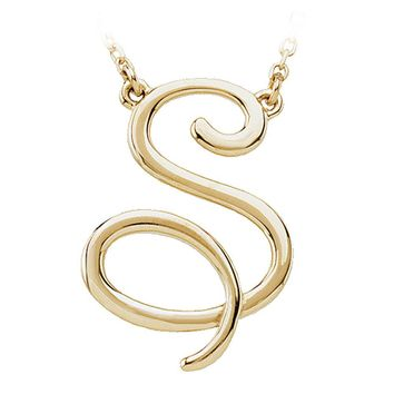 14k Yellow Gold, Olivia Collection, Medium Script Initial S Necklace