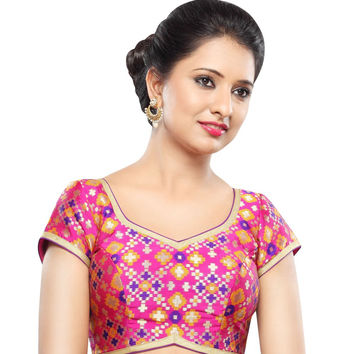 Designer Pink Patola Back Open Ready-made Saree Blouse Choli SNT X-355-SL