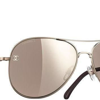 Light gold & brown Pilot Signature Chanel Sunglasses with Brown Mirror Lenses
