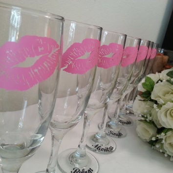 Personalized lips monogram Champagne flute Bride bridesmaids birthday party