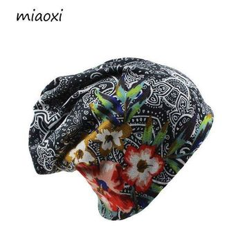 IKCKU62 miaoxi New Women Hat Polyester Adult Casual Floral Women's Hats Spring Autumn Two Used Femal Cap Scarf 3 Colors Fashion Beanies