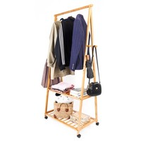 Zimtown Bamboo Clothes Hanging Rack 2 Tier Coat Hat Hooks Hanger Shoe Bag Storage Shelve - Walmart.com