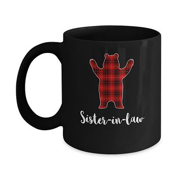 Red Sister-In-Law Bear Buffalo Plaid Family Christmas Pajamas Mug