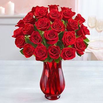 Gist Flowers Two Dozen Red Roses with Red Vase