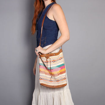 80s SOUTHWESTERN Leather BAG / Colorful Woven Cotton & Leather Drawstring Purse