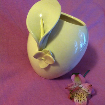 Sculpted Calla Lily Ceramic Vase Light Pastel Blue Pink Yellow White Flower Container Vintage Collectible Artisan Handmade Minimalist Decor