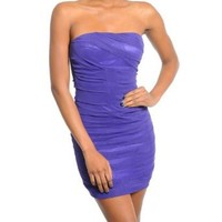 G2 Fashion Square Women's Strapless Ruched Super Tight Fitted Dress