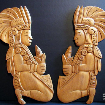 Vintage Maya Maize God Wall Hangings, Mayan Corn Diety Wall Art, Mexican Folk Art, Wood Carvings