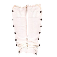 Fashion 52cm Winter Trendy Knitted Button Lace Leg Warmers Trim Boot Cuffs knee Socks Leg Warmers All-match 6 Colors
