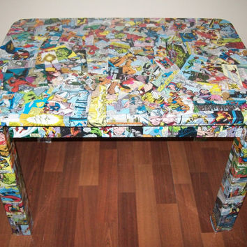 Marvel Comic Upcycled Accent Table by missmagnoliasart on Etsy