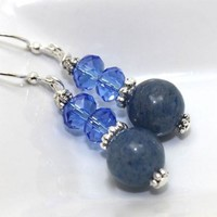 Iolite, Bali Silver and Blue Crystals Dangle Earrings