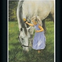 Grace and the Grey by Lesley Harrison Girl With Her Horse Framed Art Print Picture Wall Decor