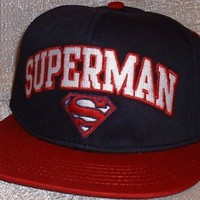 DC Comics SUPERMAN Embroidered FlatBill Adjustable Blue/Red Baseball Cap HAT