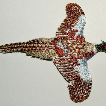 Pheasant walking This beautiful pheasant looks life like!  Applique patch Iron-On Detailed Embroideryby Cedar Creek Patch Shop Etsy