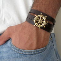 Men's Bracelet - Black Leather Bracelet With Gold Plated Steering Wheel Pendant - Mens Jewelry - Mens Cool Jewelry - Gift for Him