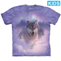 NORTHERN LIGHTS Kids Wolf T-Shirt Aurora Wolves The Mountain Child Boy Girl NEW!