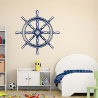 Nautical Nursery Wall Decals Ship Wheel Decor- Sea Ocean Wall Decal Living Room Bedroom Nautical Nursery Bedding Wall Art Home Decor C086