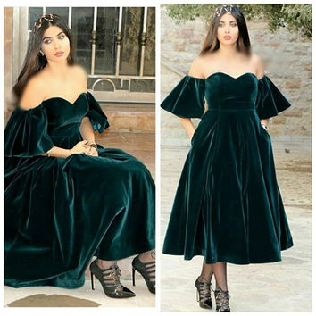 New Arrival Custom made Off the shoulder Dark green velvet Short Evening dress 2017 Saudi arabia evening gowns Plus size