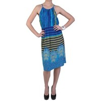 Sangria Womens Stripe and Paisley Stretch Knit Sleeveless Dress