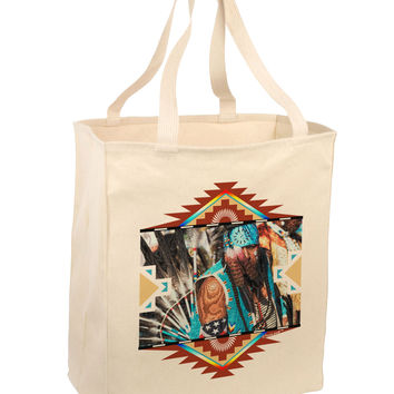Native American Dancer 2 Large Grocery Tote Bag-Natural