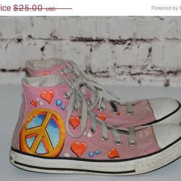 40 off 90s chuck taylor converse limited edition drew brophy pink peace sign hearts h