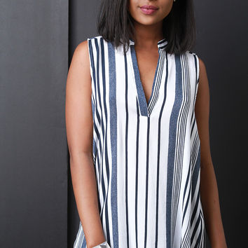 Half Placket Vertical Striped Top