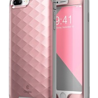 iPhone 8 Plus Case, Clayco [Hera Series] Full-body Rugged Case with Built-in Screen Protector Compatible with Apple iPhone 7 Plus 2016 / iPhone 8 Plus 2017 (RoseGold)