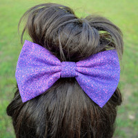 Galaxy Inspired Purple Speckle Hair Bow