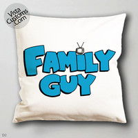 animated comedy Family Guy Logo  pillow case, cover ( 1 or 2 Side Print With Size 16, 18, 20, 26, 30, 36 inch )