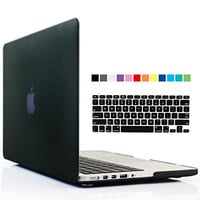 iBenzer - 2 in 1 Soft-Skin Smooth Finish Soft-Touch Plastic Hard Case Cover & Keyboard Cover for Macbook Pro 13.3'' with Retina display NO CD-ROM, Black MMP13R-BK+1