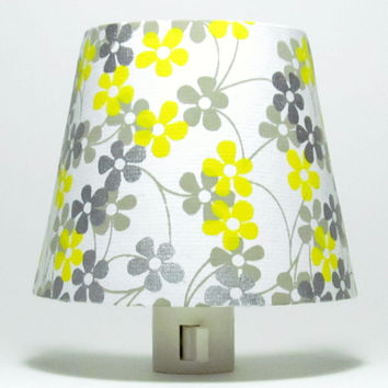 White Night Light with Yellow and Gray Flowers